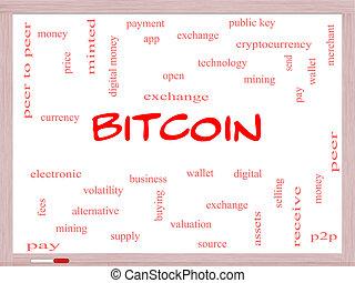 bitcoin, szó, felhő, fogalom, képben látható, egy, whiteboard