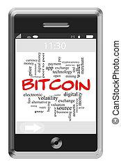 bitcoin, szó, felhő, fogalom, képben látható, touchscreen,...