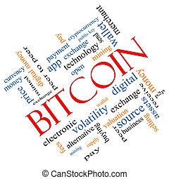 bitcoin, szó, felhő, fogalom, szögletes
