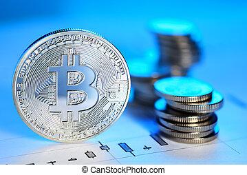 Bitcoin trading concept - Silver Bitcoin coin on the candle ...