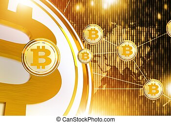 Bitcoin Trading Network Concept Illustration with 3D...