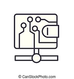 Bitcoin transactions black icon concept. Bitcoin transactions flat vector symbol, sign, illustration.