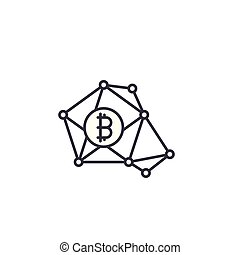 Bitcoin transactions linear icon concept. Bitcoin transactions line vector sign, symbol, illustration.