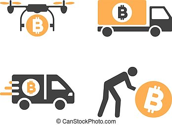 Bitcoin Transportation Vector Icon Set