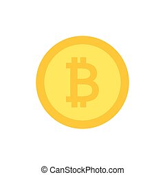 Bitcoin vector icon. Crypto currency flat illustration.