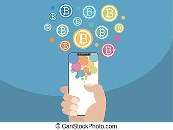 Bitcoin vector illustration with icons. Hand holding modern bezel-free / frameless smartphone on blue background