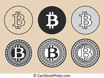bitcoin - vector set of cryptocurrency