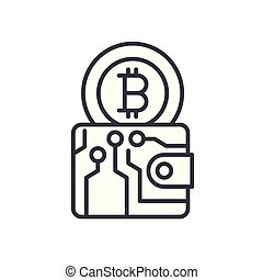 Bitcoin wallet black icon concept. Bitcoin wallet flat vector symbol, sign, illustration.