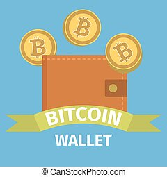 Bitcoin wallet concept on blue background, vector...