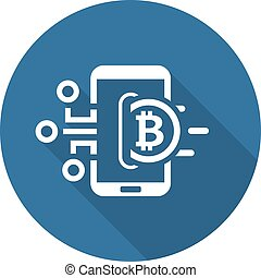 Bitcoin Wallet Icon. Modern computer network technology sign...
