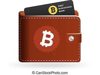 Bitcoin wallet logo with bank card. Blockchain bank card on...