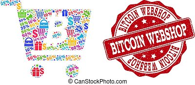 Bitcoin Webshop Collage of Mosaic and Grunge Stamp for Sales