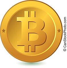 bitcoin., wektor, currency., ilustracja, cyfrowy