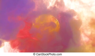 Bitcoin with colorful paints. Slow Motion - Bitcoin coin...
