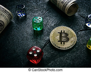 Bitcoin with dice and money