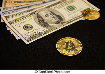 Bitcoin with dollars and golden coin