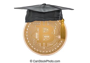 Bitcoin with graduation cap, 3D rendering