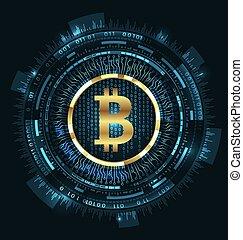 Bitcoin with HUD Elements. Bit Coin, BTC, Bit-coin, Digital...