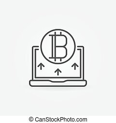 Bitcoin with laptop line icon - vector cryptocurrency sign