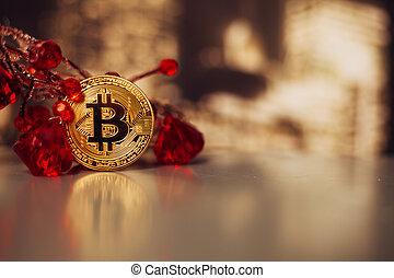 bitcoin with precious stones ruby close up
