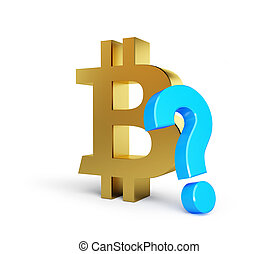 bitcoin with question mark on a white background 3D illustration, 3D rendering