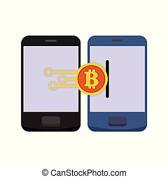 Bitcoind Mobile Electronic Transfer Vector Illustration Graphic