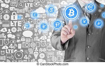 bitcoins, écran, button., urgent, choisir, toucher, homme affaires