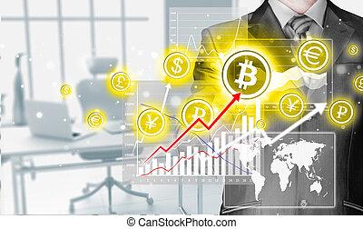 bitcoins, écran, button., urgent, choisir, toucher, homme...