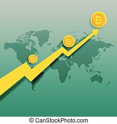 bitcoins, 上向き傾向, 上昇, グラフ, ベクトル, 背景