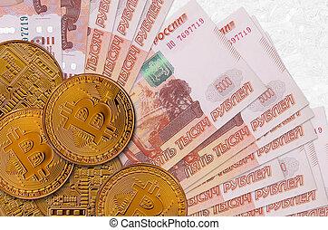 bitcoins., cryptocurrency, russe, exploitation minière, investissement, commerce, doré, 5000, rubles, concept., factures, ou, crypto