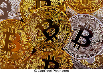 bitcoins., doré, concept, beaucoup, virtuel, cryptocurrency, argent