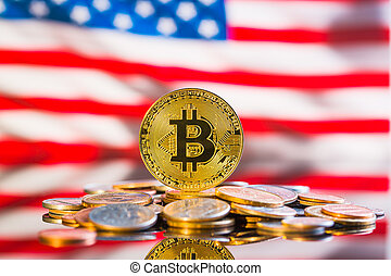 bitcoins., doré, cryptocurrency.