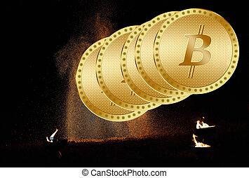 bitcoins., doré, nouveau, argent virtuel