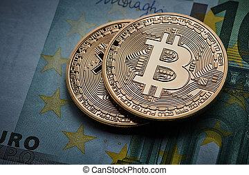 bitcoins, goud, bankbiljet, cryptocurrency, munt, eurobiljet