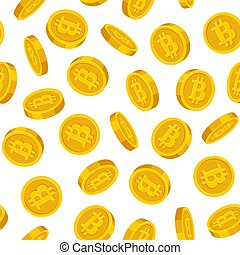 bitcoins, goud, model, seamless, achtergrond., vector, witte