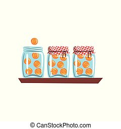 Bitcoins in glass jars, cryptocurrency technology, virtual money concept vector Illustration on a white background
