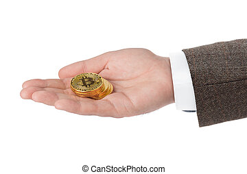 bitcoins, in, hand