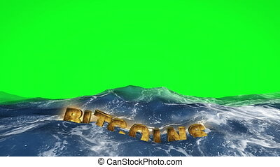 Bitcoins is floating in the water on green screen