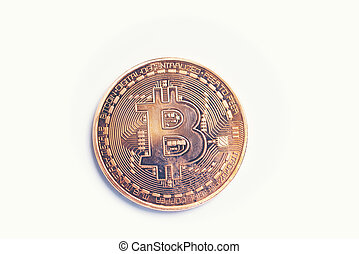 bitcoins isolated on white background