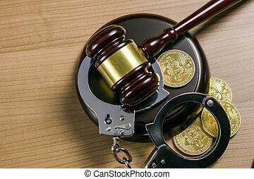 bitcoins, legno, concept., manette, legale, cryptocurrency, desk., martelletto