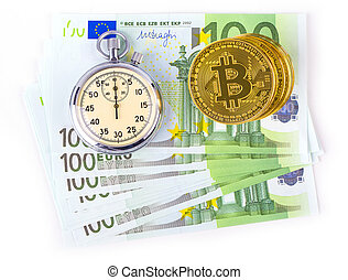Bitcoins on a pile of one hundred euros and a bulb clock on a white background