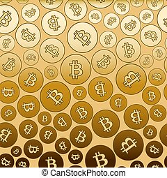 bitcoins, or, gradient, -, vecteur, fond