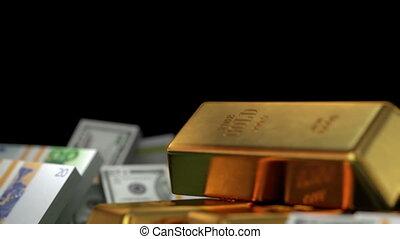 bitcoins, pieniądze, złoty, i, dzwonek