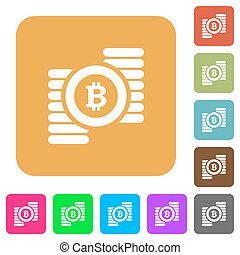 Bitcoins rounded square flat icons
