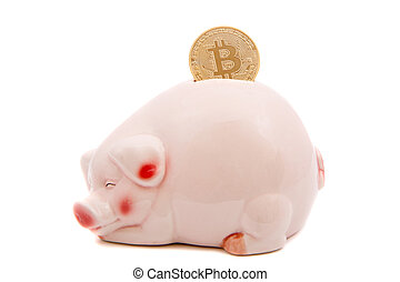bitcoins saving in a piggy bank