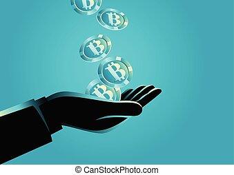 bitcoins, segurando mão