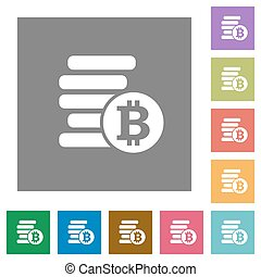 Bitcoins square flat icons