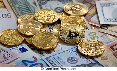 Bitcoins stack on dollar and euro banknotes background