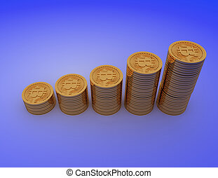 Bitcoins with coin graph . 3d rendered illustration