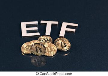 Bitcoins with ETF tekst on dark